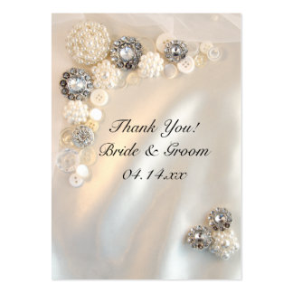 Pearl and Diamond Buttons Wedding Favor Tags Large Business Card