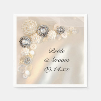 Pearl and Diamond Buttons Wedding Paper Napkin