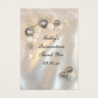Pearl and Diamond Thank You Quinceañera Favor Tags