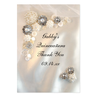 Pearl and Diamond Thank You Quinceañera Favor Tags Large Business Card