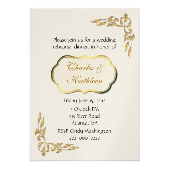 Pearl and Gold Rehearsal Dinner Invitation