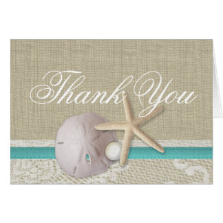 Pearl and Lace Beach Aqua Thank You Card