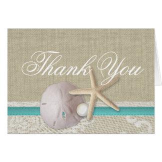 Pearl and Lace Beach Aqua Thank You Card