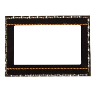 Pearl And Rope Trimmed Black Satin Silk Frame Magn
