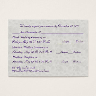 Pearl and Silver Mini RSVP Card