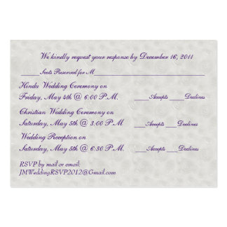Pearl and Silver Mini RSVP Card Business Card Template