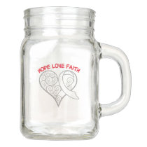 Pearl and White Ribbon Hope Love Faith Mason Jar