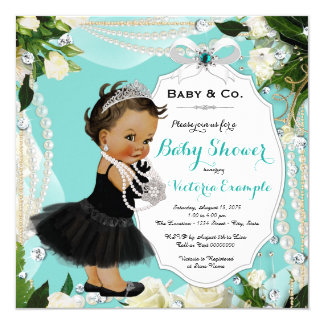 Pearl Baby & Co Black Teal Ethnic Baby Girl Shower Card