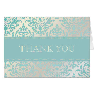 Pearl + Blue Damask Thank You Note Cards