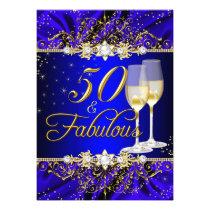 Pearl & Blue Gold Swirl 50 & Fabulous Invitation Card