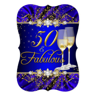 Pearl & Blue Gold Swirl 50 & Fabulous Invite