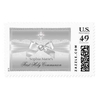 Pearl Bow & Cross First Holy Communion Stamp