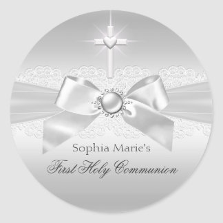 Pearl Bow & Cross First Holy Communion Sticker
