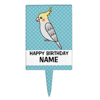 Pearl Cartoon Cockatiel Parrot Bird Cake Topper