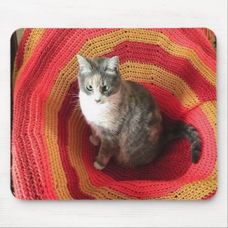 Pearl Cat on Afghan mousepad
