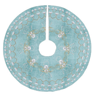 Pearl Christmas Angel of Joy Aqua Circle Brushed Polyester Tree Skirt