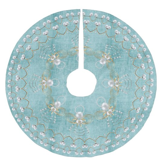 Aqua Christmas Tree Skirt: Pearl Christmas Angel Of Joy Aqua Circle Brushed Polyester
