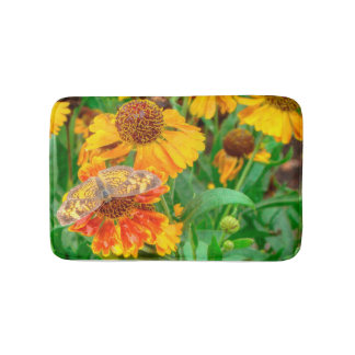 Pearl Crescent Butterfly on Sneezeweed Bathroom Mat