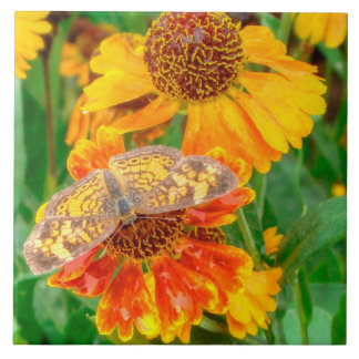 Pearl Crescent Butterfly on Sneezeweed Ceramic Tile