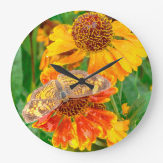 Pearl Crescent Butterfly on Sneezeweed Large Clock