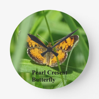 Pearl Crescent Butterfly Round Clock
