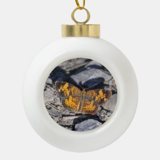 Pearl Crescent Ceramic Ball Christmas Ornament