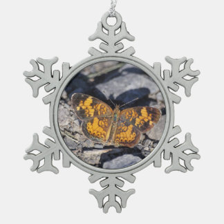 Pearl Crescent Snowflake Pewter Christmas Ornament
