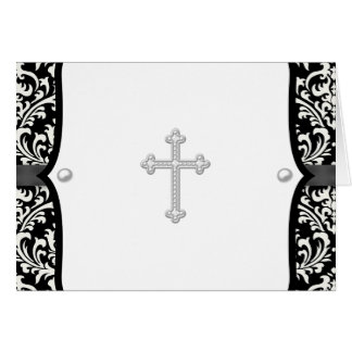 Pearl Cross and Black Damask Thank You Cards Note Card