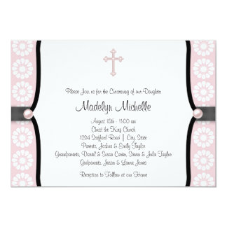 "Pearl Cross Pink Flower Christening 5"" X 7"" Invitation Card"
