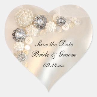 Pearl Diamond Button Wedding Save the Date Sticker