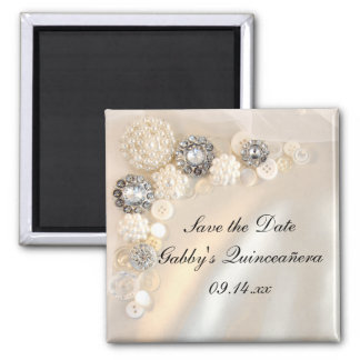 Pearl Diamond Buttons Quinceañera Save the Date 2 Inch Square Magnet