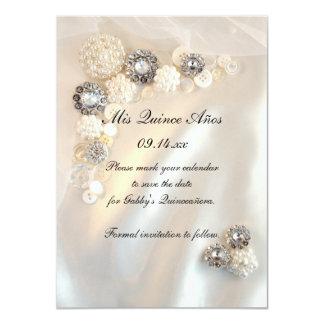 Pearl Diamond Buttons Quinceañera Save the Date Card
