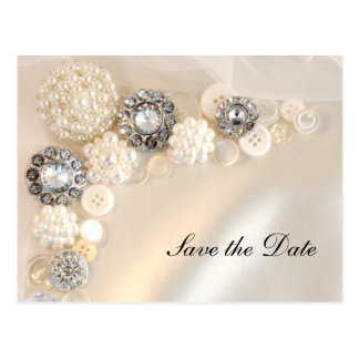 Pearl Diamond Buttons Quinceañera Save the Date Postcard