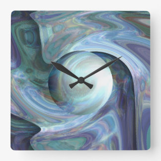 Pearl Diving Square Wall Clock
