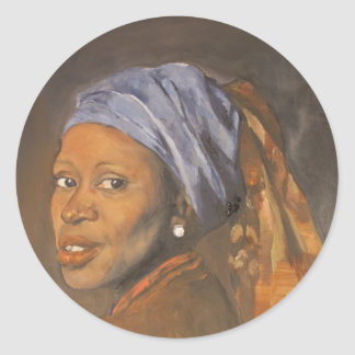 Pearl Earring Afro centric Classic Round Sticker