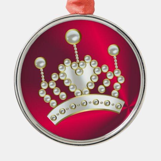 Pearl Encrusted Princess Crown Metal Ornament