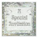 Pearl Essence Silver Leaf Wedding Invitation