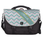 Pearl Floral Teal ZigZag Pattern Bags For Laptop