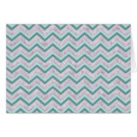 Pearl Floral Teal ZigZag Pattern Greeting Cards