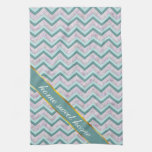 Pearl Floral Teal ZigZag Pattern Hand Towels