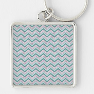 Pearl Floral Teal ZigZag Pattern Key Chain