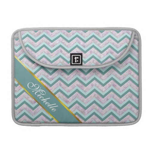 Pearl Floral Teal ZigZag Pattern Sleeves For MacBook Pro