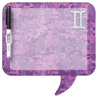 Pearl Gemini Zodiac Symbol on Digital Camouflage Dry-Erase Board