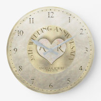 Pearl Gold Heart Monogram Wedding Anniversary Large Clock