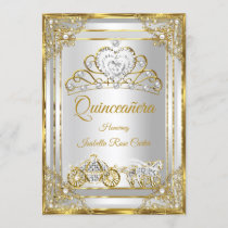 Pearl Gold White Quinceanera tiara carriage Invitation
