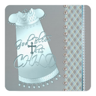 Pearl Gray Teal Blue Christening Personalized Announcements