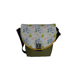 Pearl Grey and Multi Floral Courier Bag