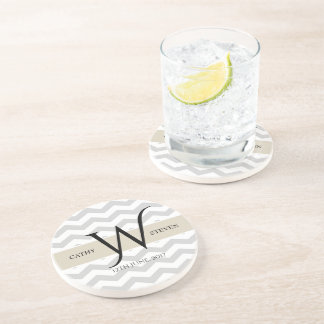 Pearl Grey Chevron Sandstone Drink Coaster