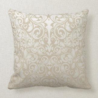 Pearl Grey Vintage Damask Pattern Throw Pillow