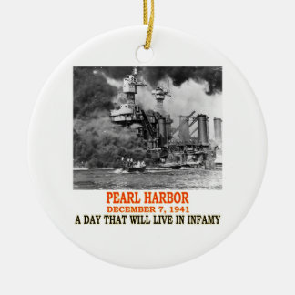PEARL HARBOR Double-Sided CERAMIC ROUND CHRISTMAS ORNAMENT